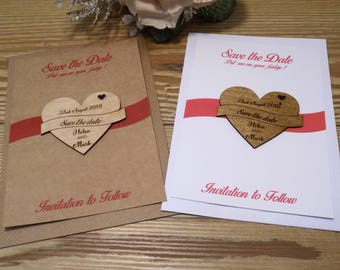 Banner and Heart style wooden magnet save the date