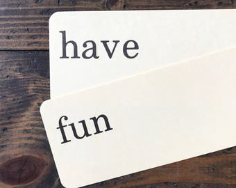 have fun • vintage flash card pair • Dick and Jane flashcards • Allyn and Bacon word cards