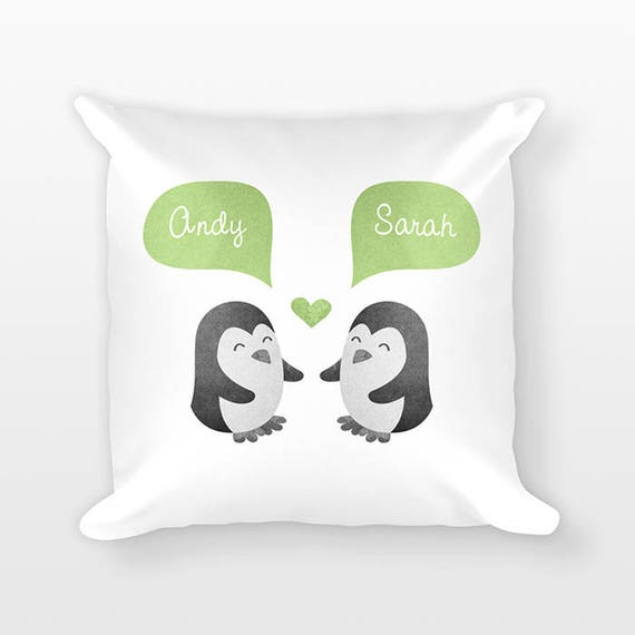 PENGUIN Pillow, Animal Couple Pillow, Personalized Pillow, Engagement Gift for Couple, Custom Throw Pillow, Decorative Pillow for Couch