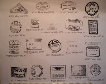 19 Faux passport cancellations Rubber stamps FOAM mounted rubber stamps or UN-MOUNTED