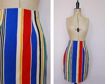 Vintage 80s 90s Fenn Wright & Manson silk striped pencil skirt - High waisted pencil skirt - Vintage pencil skirt - Vintage stripy skirt