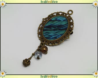 Peacock blue green resin and Pearl charm retro feather brooch