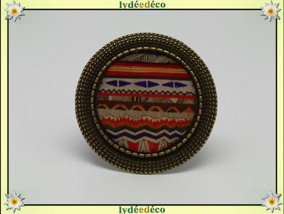 Round ring vintage retro multicolored African resin and bronze adjustable laitn retro 20mm charm