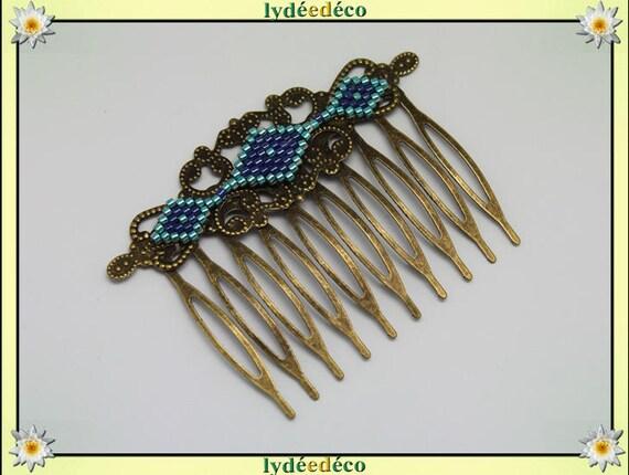 Vintage wedding hair comb Japanese brass blue green glass beads