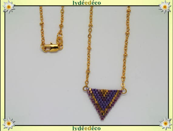 Necklace plated 18 k gold purple lilac and gold woven triangle chevron chain ball