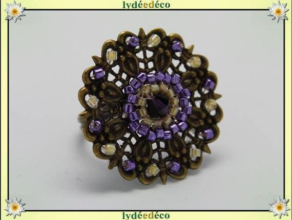 Japanese purple yellow glass 25mm bronze beads charm retro vintage adjustable flower ring