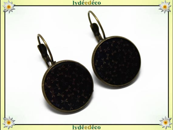 Vintage Japan black blue Brown Dragonfly motif retro Stud Earrings resin and brass bronze 2cm