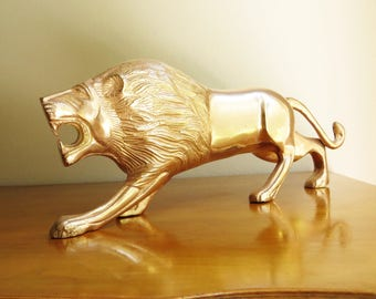 Vintage Brass Lion Figurine, Gold Lion Sculpture, Large Lion Statue, African Animal Figure