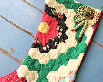 Christmas Stocking Quilt Grandma's Flower Garden Vintage Brooch Pearls Velvet Tatting