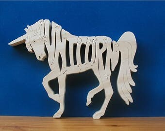 Unicorn Wood Toy Puzzle Cut On Scroll Saw
