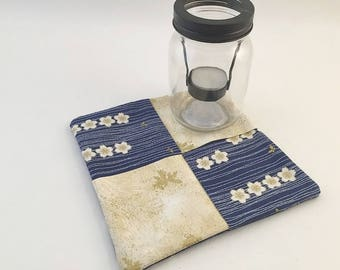 Floral Hot Pad, Flower Trivet, Blue Mug Rug, Blue Hot Pad, White Gold Flowers, Blue White Gold, Gold Leaf, Butterfly fabric