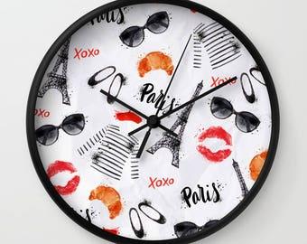 Paris Clock, Paris Wall Clock, French Clock, France Clock, Paris Lover, Eiffel Tower Clock, Travel Clock, Europe Clock, Black White Red, art