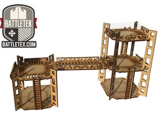 Combo Pack- Industrial Towers C and D -  1-2 Level Rig Platform - Futuristic Necromunda Warhammer 40k Wargaming Building Scenery 28mm Scale