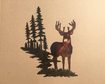 Whitetail Buck Deer w/ Mountain & Trees Metal Wall Art