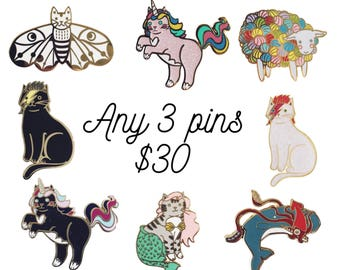 Cat Enamel Pin - Pin set -   cat  enamel pin - pin sale - bowie cat - unicorn cat pin