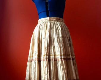 Folk Dancing Full Flared Skirt with Gold Trim 1950s Full Swing Skirt