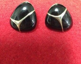 ON SALE Black Enamel Gold Tone Post Earrings Triangle Style See
