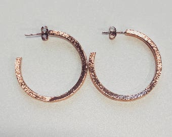 Sweet Silver Hammered Hoop Earrings with Rose Gold Plating