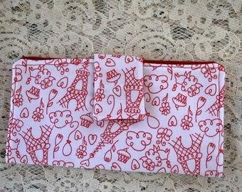 Womens Wallet Red & White, Bifold Wallet, Slim Fabric Wallet, Credit Card Wallet, Cash Wallet, Summer in Paris Fabric