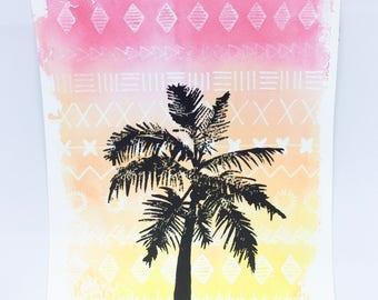 Sunset Palm Tree silhouette Handmade original Lino Print