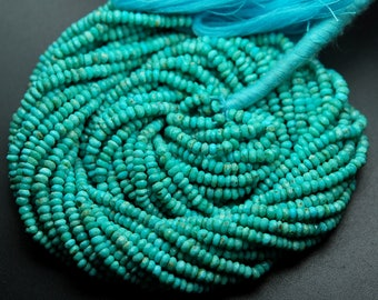 13 Inches Strand,Natural ARIZONA TURQUOISE Faceted Rondelles,Size 3-3.25mm