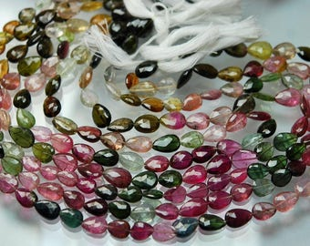 53 Carats,14 Inch strand Super-FINEST,Multi Tourmaline Faceted Full Drill Pear Briolettes 7-9mm