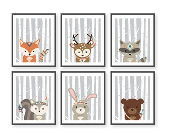 Woodland Animals Nursery, Birch Tree Art, Boho Tribal Woodland Critters, Forest Friends, Wilderness Nursery, Fox Deer Bear Squirrel Raccoon