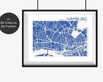 HAMBURG Map, Hamburg Travel Map, Hamburg Street Map, Hamburg Map Poster, Hamburg Wall Art, Custom Map, Hamburg Office Decor, Hamburg Gift