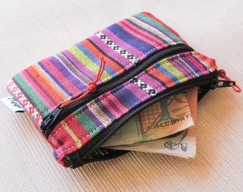 Ethnic Wallet, Tribal Card Holder, Bright Fabric Coin Purse Women, Colorful Money Clip