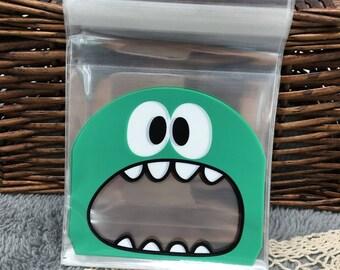 5 Pocket pouches Green Monster nice cellophane bag