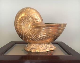 Vintage LARGE Brass Nautilus Shell Planter
