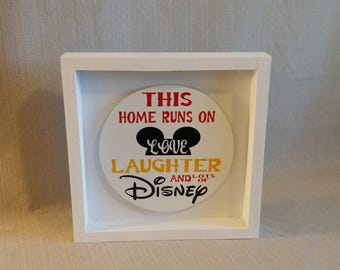 This house runs on Love Laughter and Lots of Disney, Disney sign wood, Disney, Disney wood Sign, Disney Decor, Disney Gift