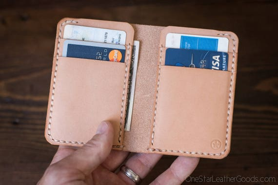 6 Pocket Vertical Wallet, natural veg tanned leather for front or back pocket - natural veg