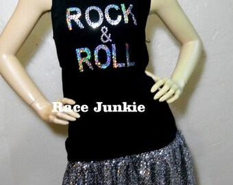 Christmas in July Sale Rock and Roll Sparkly Skirt and Tank Set Half Marathon / Running / Race / Costume / Vegas/ Cosplay / Elvis