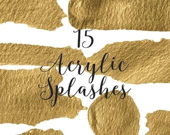 Gold Acrylic Clip Art Gold Splashes Clip Art Watercolor Splashes Gold Splashes Photography Clip Art Gold Acrylic Splashes Clip Art