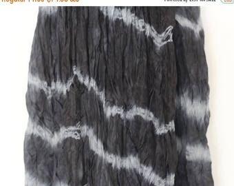ON SALE Valentines gift, Shibori Silk Scarf, Black Large Silk Scarf, Large Silk scarf , Hand dyed silk Scarf, Gift for her, Valentines Day