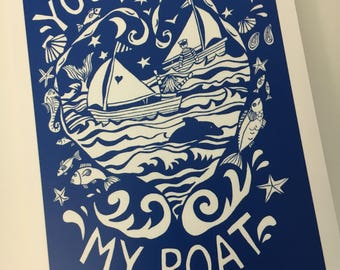 You float my boat art print, signed by the artist, mounted.