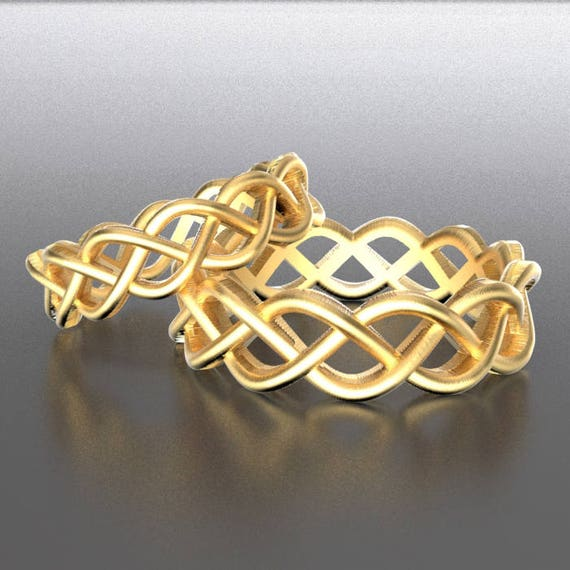 Celtic Wedding Ring Set With Braided Cut-Through Knotwork Design in 10K 14K 18K Gold, Palladium or Platinum, Made in Your Size CR-221