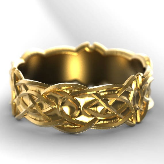 Gold Celtic Wedding Ring With Trinity Knotwork Design in 10K 14K 18K or Palladium, Made in Your Size Cr-1037