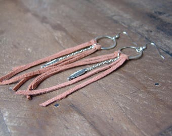 Tan Leather Earrings, Fringe Earrings, Leather Tassel Earrings, Boho Wedding Style,  Boho Fringe Earrings, Feather Dangle Earring, Bohemian
