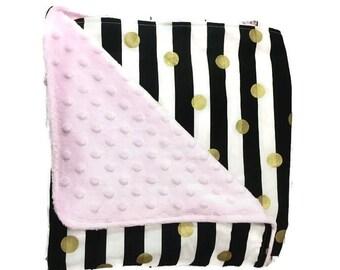 Medium GIRL'S BABY BLANKET • Stripe Dot • Pink Black White Gold • Minky • Baby Shower Gift • Blanket • BizyBelle