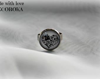 Indigo black heart ring