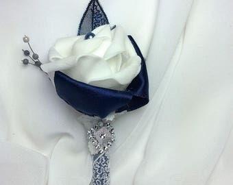 White Rose Boutonniere Navy Wedding-Blue-White-Grooms Flower-Mans Flower-Lapel-Man's-Men's-Boutonniere-Prom-White Flower-Prom Date-Lapel