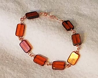 Amber Czech Glass and Copper Wire Bracelet