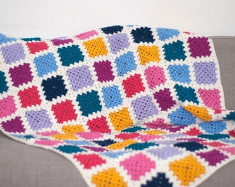 Crocheted Blanket - Granny Square Large Baby Blanket / Throw