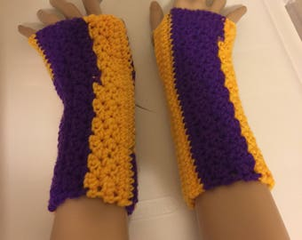Gold and Purple Fingerless Gloves