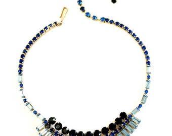 Vintage Blue Rhinestone Necklace - Dazzling