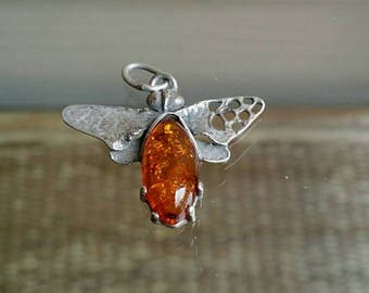 Vintage 2.5 Grams sterling silver bug insect amber pendant charm