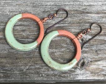 Handmade ceramic hoop earrings in Moss Green