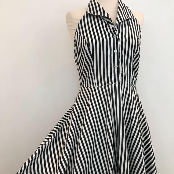 RESERVED Vintage dress 1950s style striped halterneck white black cotton UK 12 14 vintage 50s bad girl rockabilly stripey new look 1980s